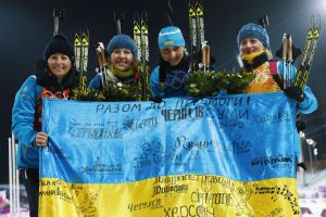 The Ukraine biathlon team asked for a moment of silence after their victory.