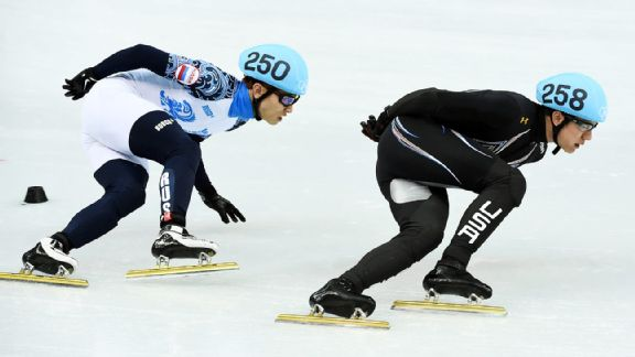 J.R. Celski, of the USA, leads Victor An early. Team USA lost its lead with seven laps to go but medaled.