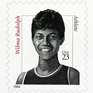 The United States Postal Service honored Wilma Rudolph with a stamp nearly 10 years after her death.