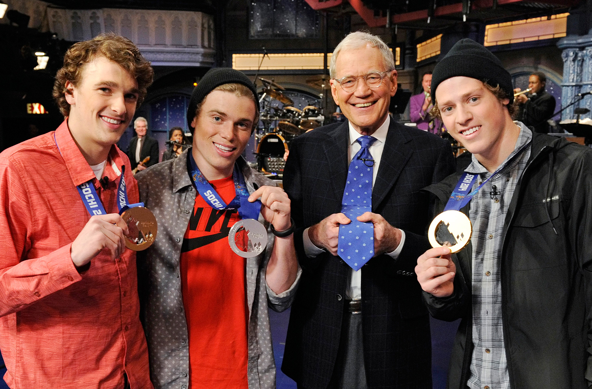 Nick Goepper, Gus Kenworthy, David Letterman and Joss Christensen.