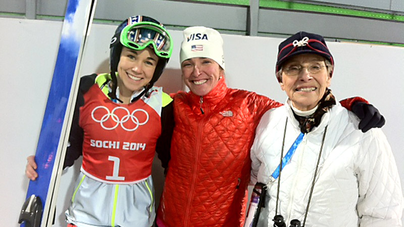 American ski jumper Sarah Hendrickson kept it all in the family with her mother, Nancy Hendrickson, and her grandmother, Arline Bownes, by her side as she made history by becoming the first female ski jumper to ever compete in an Olympic Games.