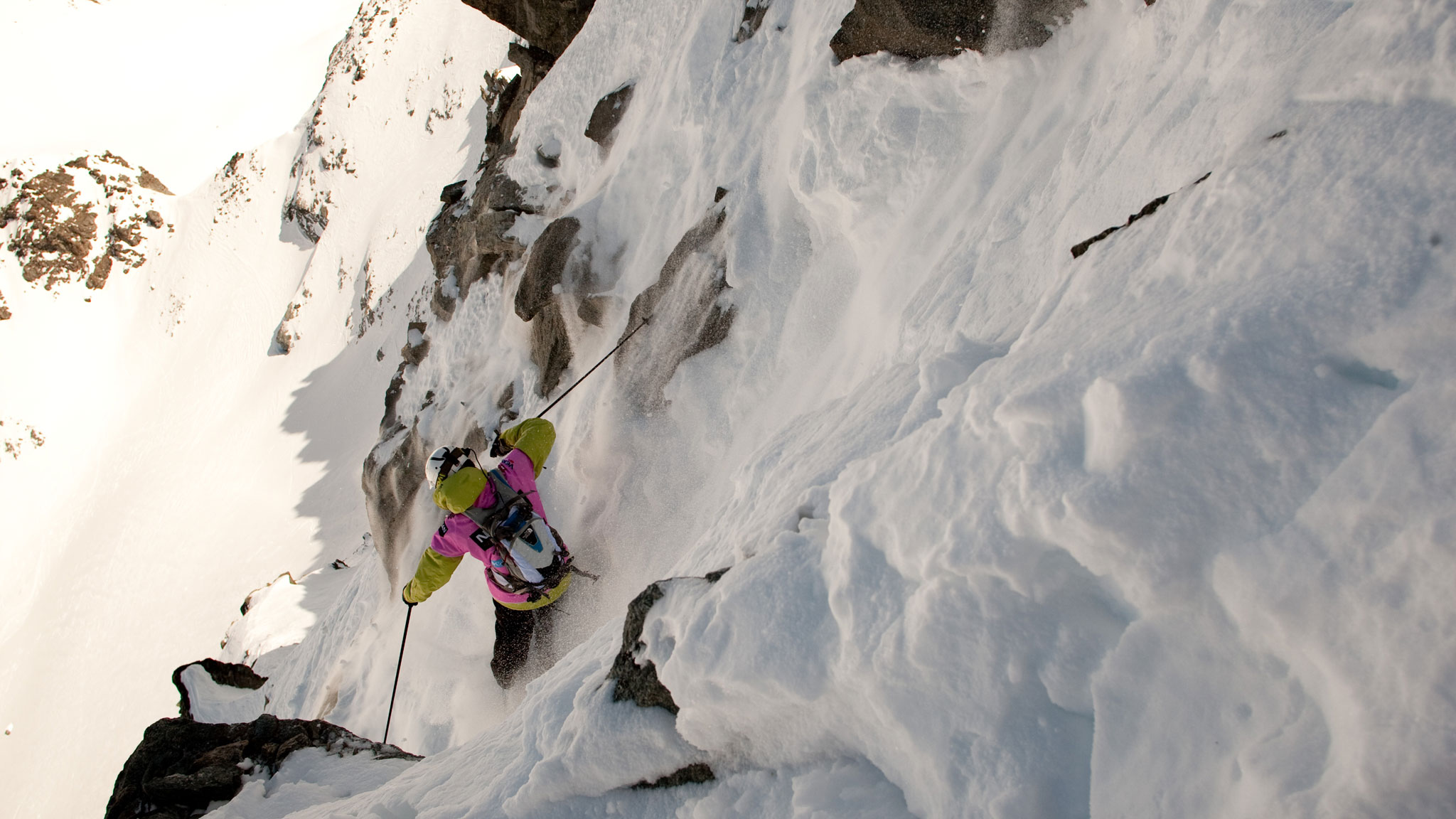 A skier drops into the legendary Bec des Rosses, the final competition venue on the Freeride World Tour.