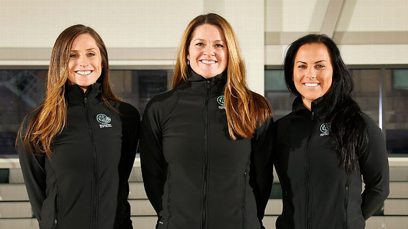 Roosevelt head coach Amanda Scott, center, and assistants Lauren Lappin and Jenn Salling have played at the highest collegiate, professional and international levels.