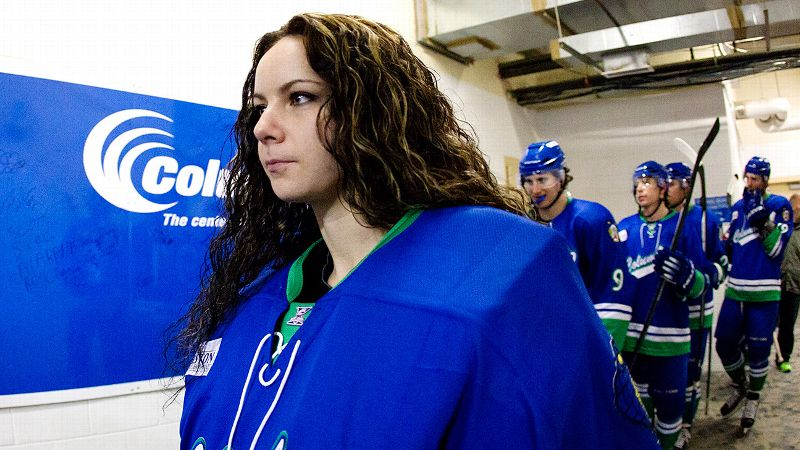 Szabados walks toward the ice before the second period at Columbus Civic Center a couple of days before she debuted in a game for the Cottonmouths.