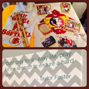 The FSU softball team signed a scrapbook that Taylor Foster's family had made for her.