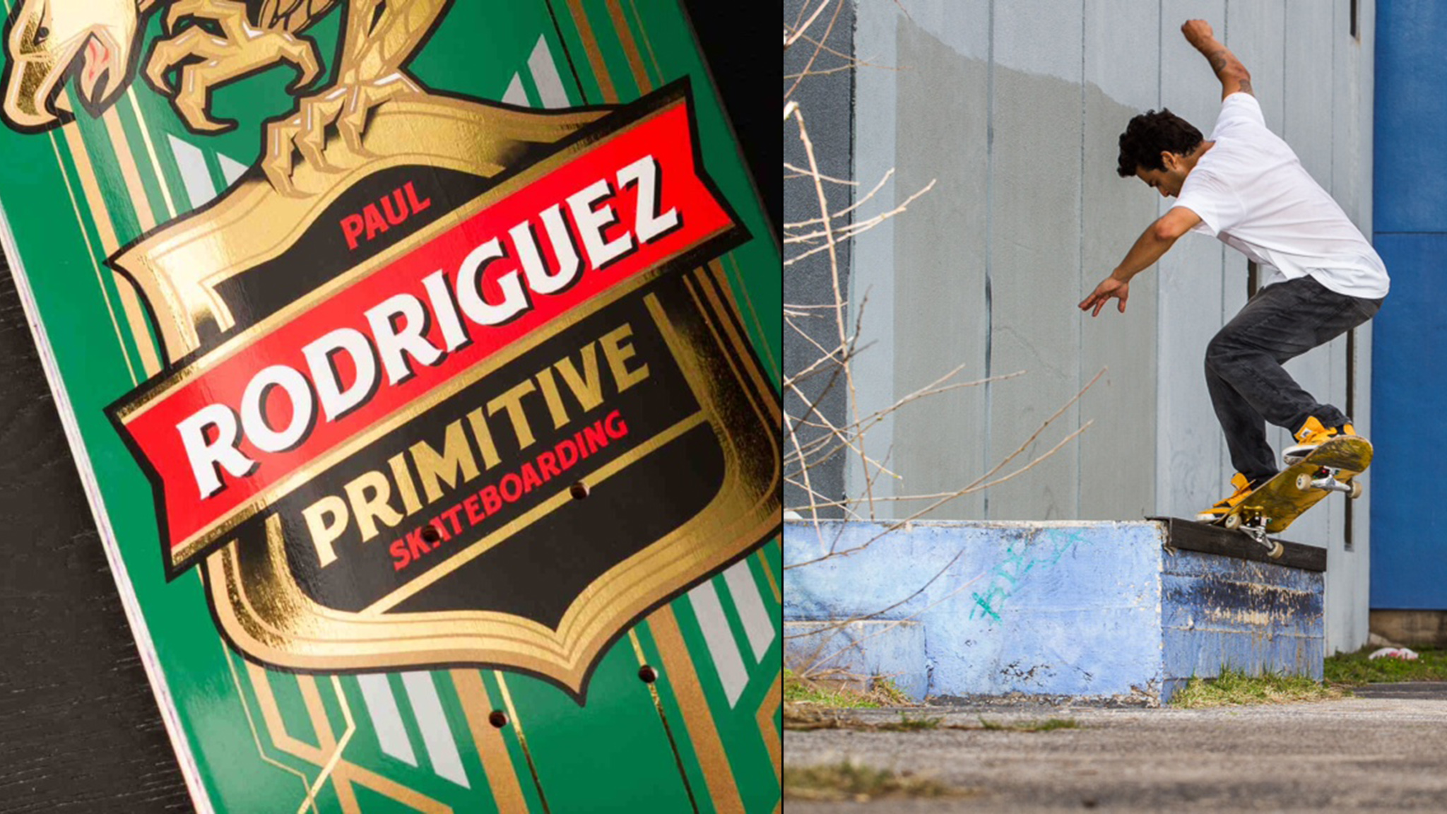 P-Rod's first pro model deck from Primitive Skateboarding (left) and a F/S crooks from P-Rod (right).