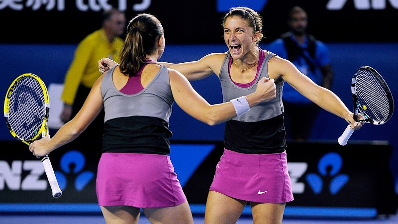 Sara Errani and Roberta Vinci had a lot to celebrate after winning their second straight Australian Open doubles titles in January.