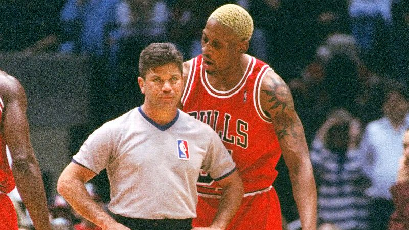After being ejected from a game against the New Jersey Nets in 1996, an unhappy Rodman went to plead his case with referee Ted Bernhardt. Apparently not happy with Bernhardt's reaction, The Worm took the unconventional route and a href=https://www.youtube.com/watch?v=blu3tPj7eZU head-butted the ref./a An enraged Rodman continued his temper tantrum, tore off his jersey, and angrily walked off the floor. He was suspended six games and fined more than 200,000.