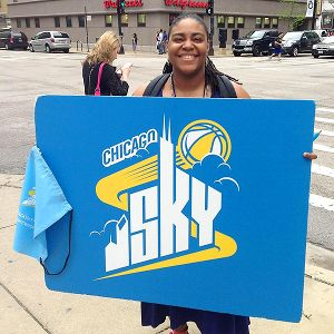 With the WNBA's Summer Hoops, the Sky logo is plenty visible around Chicago.