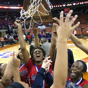 Jordan Hosey celebrates after winning the Texas state title as a junior.