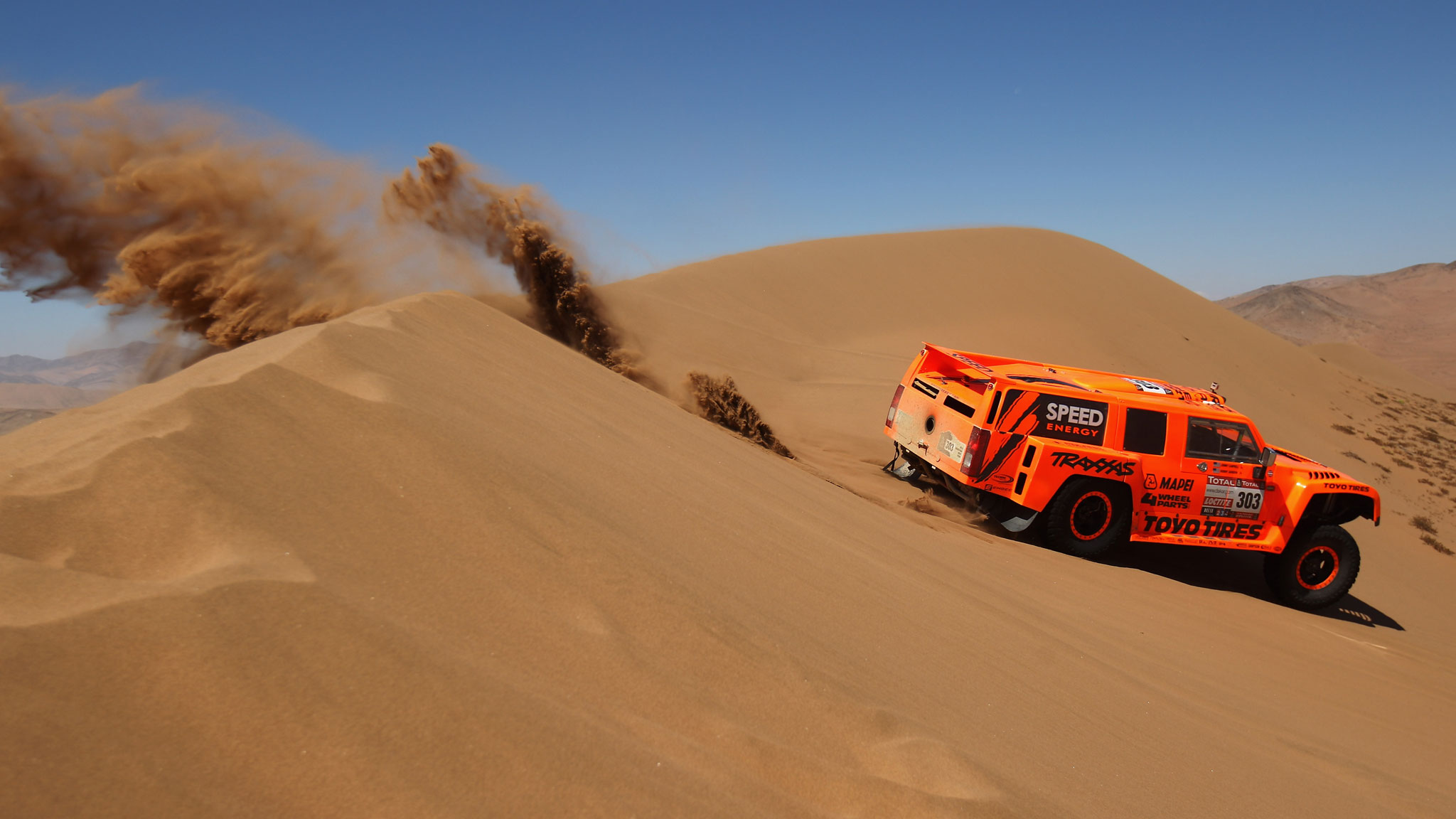 Gordon, racing during Stage 7 of the 2012 Dakar Rally in Copiapo, Chile. He was eventually disqualified from the race for an illegal modification to his engine.
