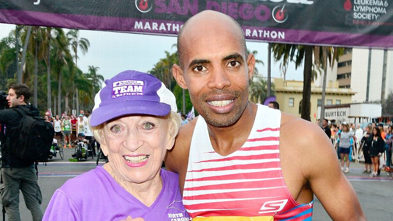 Harriette Thompson and Meb Keflezighi