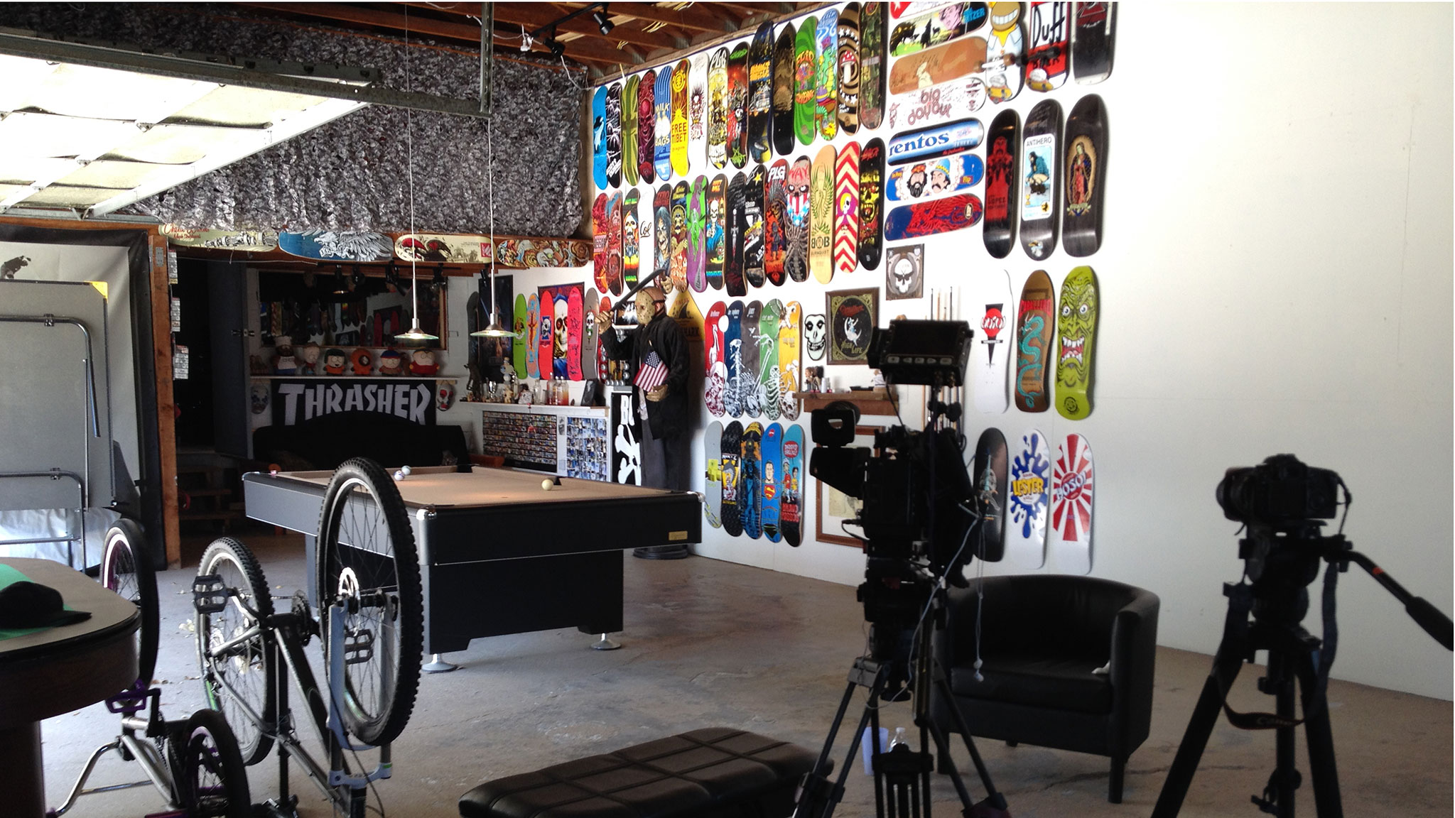 No fewer than 74 skateboards hang on the walls of Sloan's garage-turned-man cave (next to the Pantera, Slayer and Metallica posters and above his pool table), many of them signed by men he now competes against.