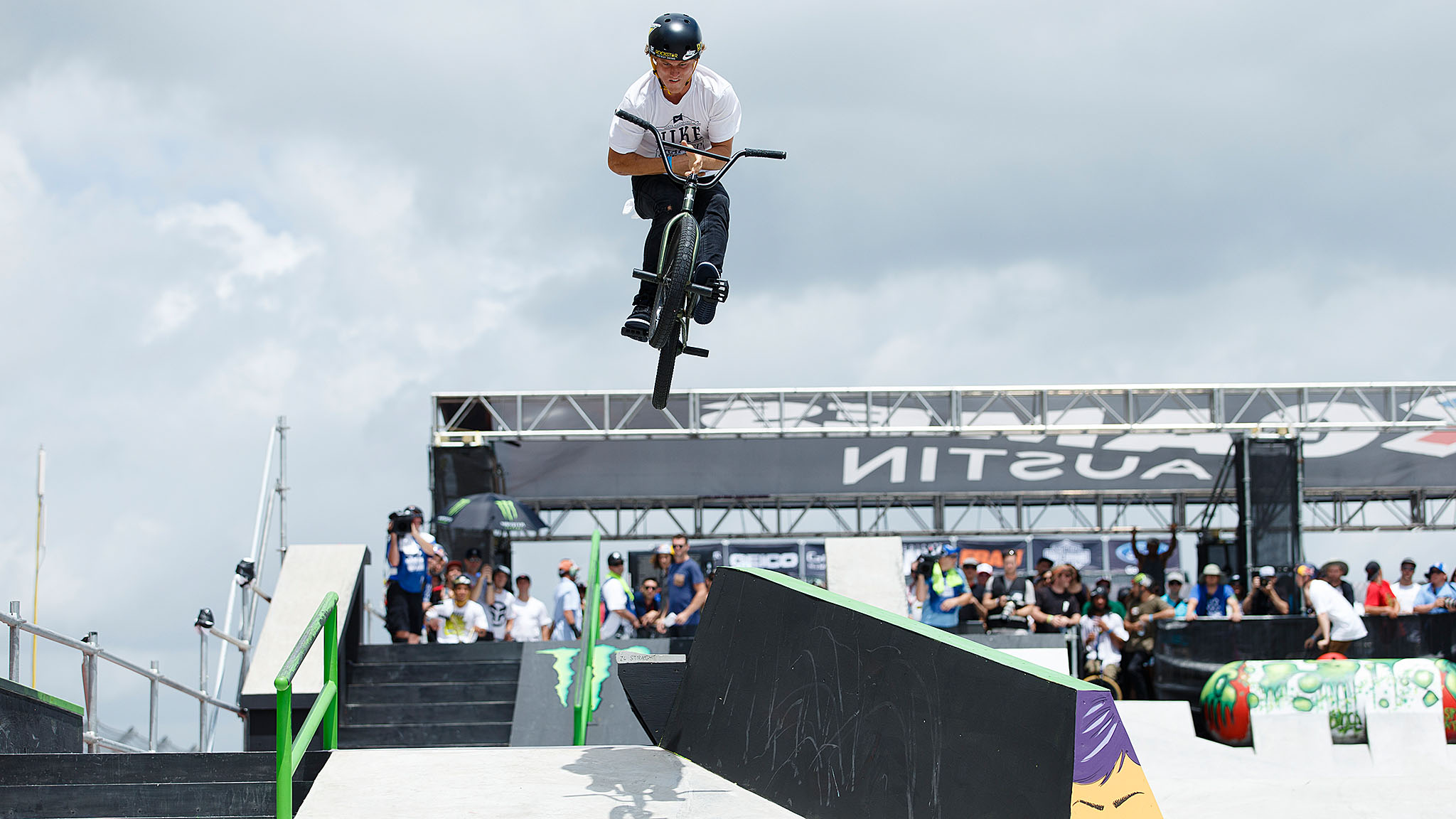 One of the few BMX riders who can easily compete across multiple disciplines at X Games, Haro/Nike pro Dennis Enarson entered BMX Street on Saturday at X Games Austin and finished with a bronze medal. Enarson's runs featured effortless 360 foot jam nose picks to fakie and, as pictured here, stylish barspin gaps.