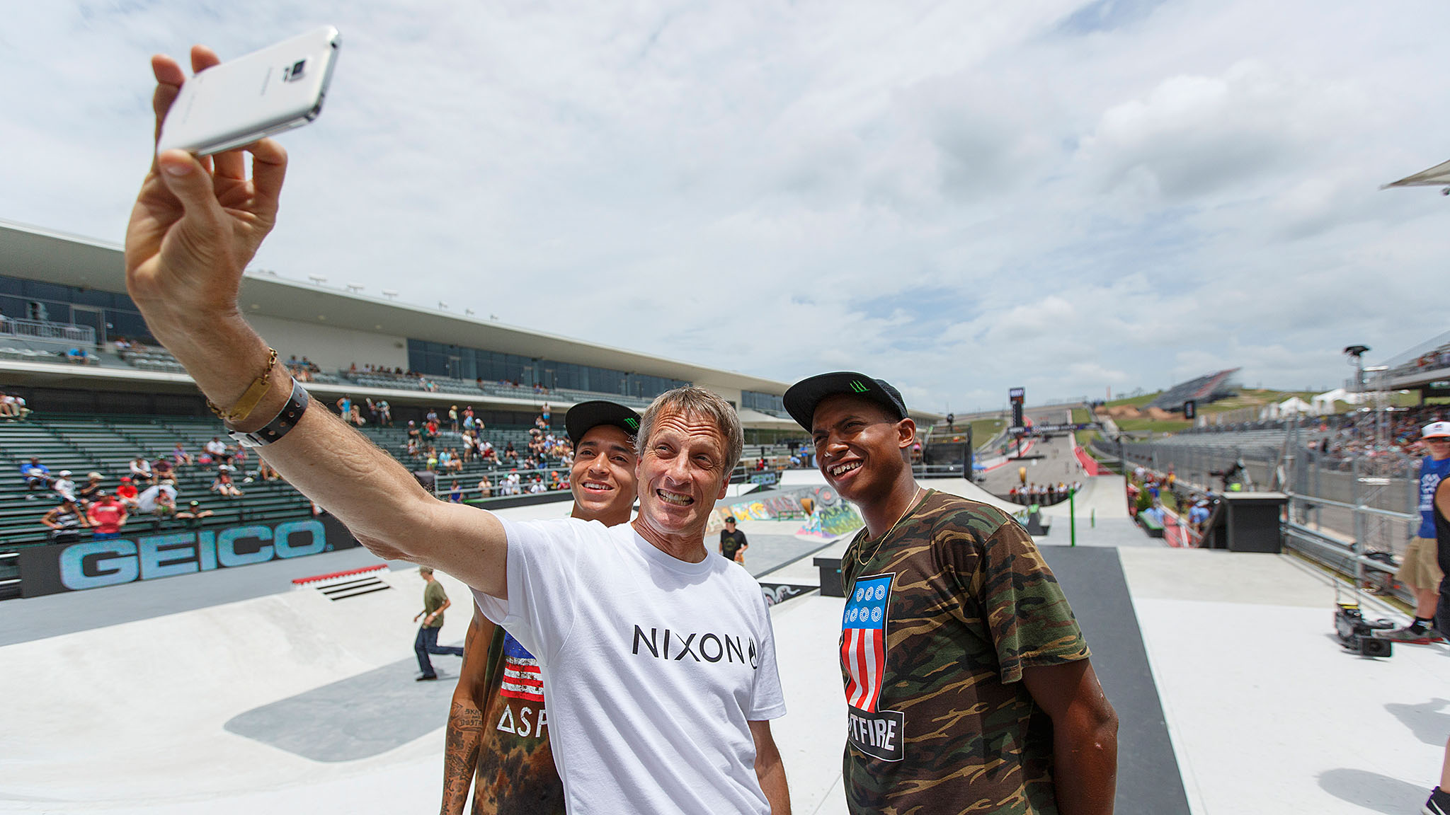 Tony Hawk added photos of Kanye West, Kim Kardashian and Women's Skateboard Street gold medalist Lacey Baker to his very active Instagram account, along with this selfie with six-time Men's Skateboard Street gold medalist Nyjah Huston and Thrasher Magazine's 2013 Skater of the Year Ishod Wair. Hawk won the very first Skater of the Year nod back in 1990. Huston's still waiting for his.