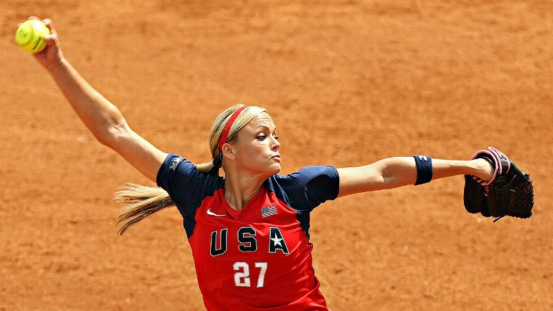Pitchers are known for their strange superstitions. Retired softball standout Jennie Finch is no exception. Before a game, she warmed up for exactly 27 minutes (her jersey number) and refused to touch the game ball before she started her warm-up. While in the circle, Finch liked to remain within the safety of the white chalk lines.
