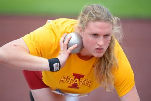 Iowa State's Christina Hillman did a 400-meter victory lap after winning the shot put.