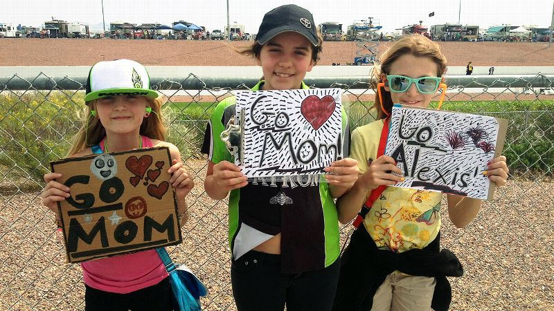 From left, Alexis DeJoria's daughters Sunny and Bella, with friend Avery Kalitta, cheer on Alexis at one of several summer races.