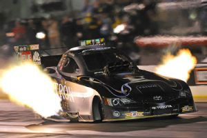 Alexis DeJoria's Toyota Camry shoots header flames as high as 10 feet at times, but they're nothing compared with the fireworks display at Norwalk, Ohio, Fourth of July weekend.