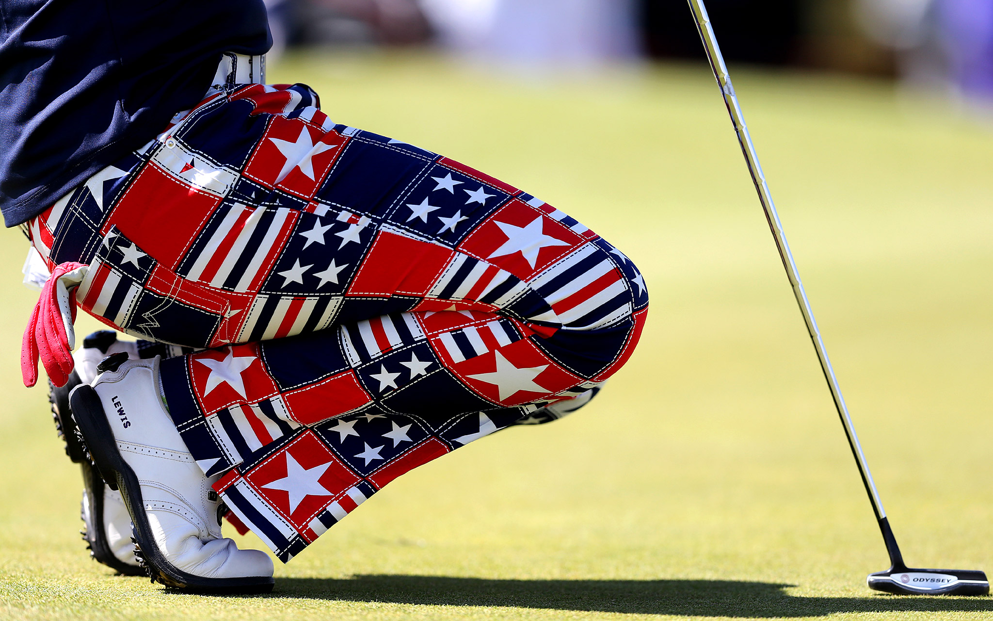 American Amelia Lewis make a fashion statement on the ninth green during the final day of the Ricoh Women's British Open.