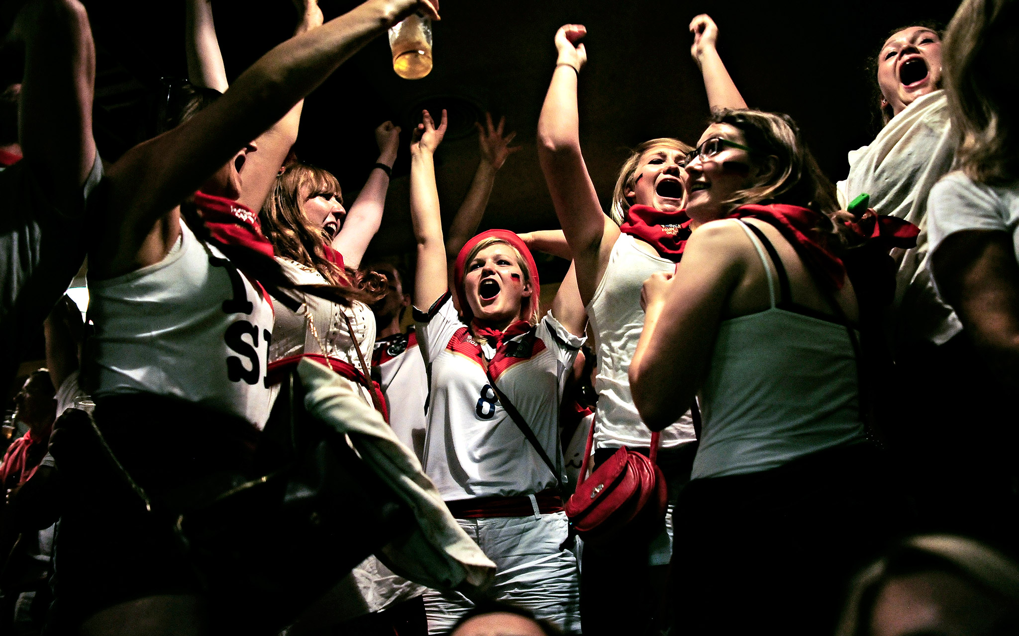 German fans celebrate after their team won the World Cup against Argentina during the San Fermin festival, in Pamplona, Spain. Revelers from around the world arrive to Pamplona every year to take part in the running of the bulls.