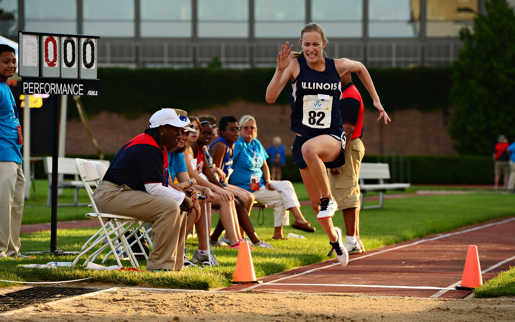Illinois' Emily Eisenmenger soared to a silver medal in the running long jump at the 2014 Special Olympics USA Games.