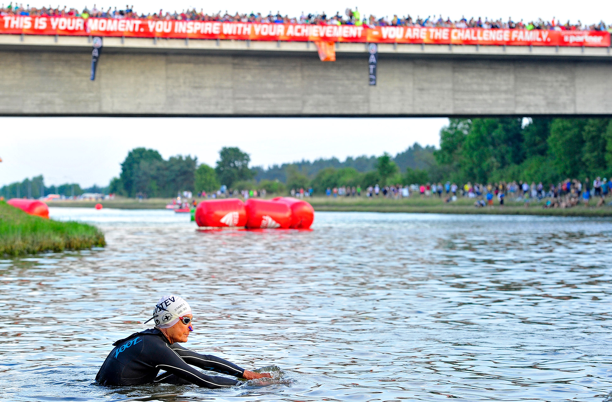 Sister Madonna Buder, a 83-year-old American nun, prepares for the swim start during Challenge Roth in Roth, Germany.