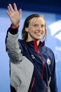 Katie Ledecky set a world record for the second straight day Sunday at the Pan Pacific championships, this one on the 1,500-meter freestyle.
