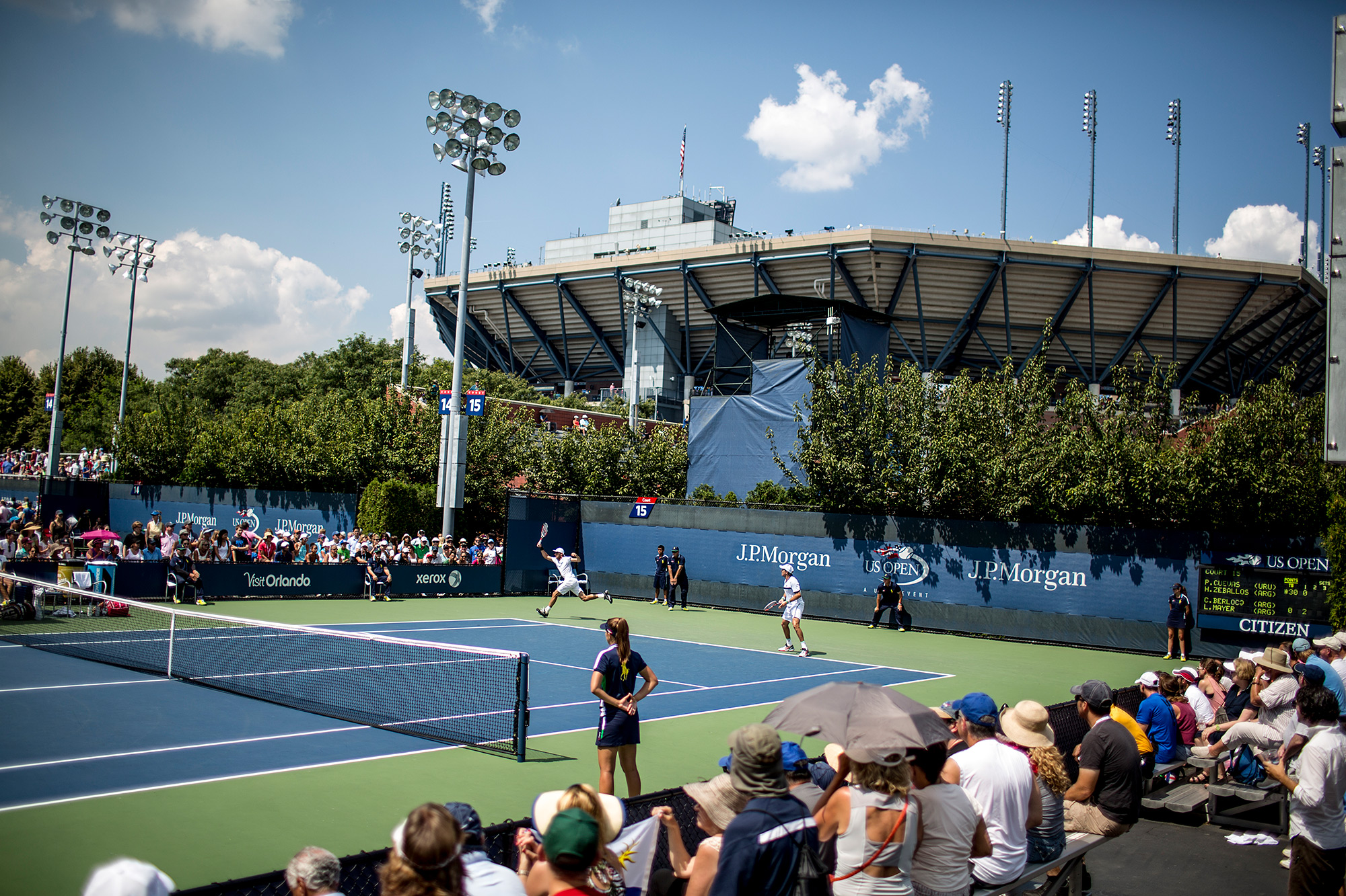 Second up on Court 15 was a men's doubles match. Carlos Berlocq and Leonardo Mayer of Argentina faced Pablo Cuevas of Uruguay and Horacio Zeballos of Argentina in the shadows of Arthur Ashe.