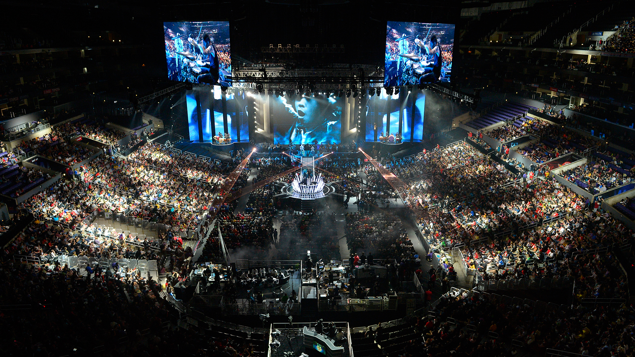 Fans watch the opening ceremony at the League of Legends Season 3 World Championship final between South Korea's SK Telecom T1 and China's Royal Club in October 2013 at the Staples Center in Los Angeles. The event sold out in less than a day. While video game tournaments have been sellouts in other countries, most notably South Korea, the Staples Center event last year brought professional gaming more into the American mainstream.