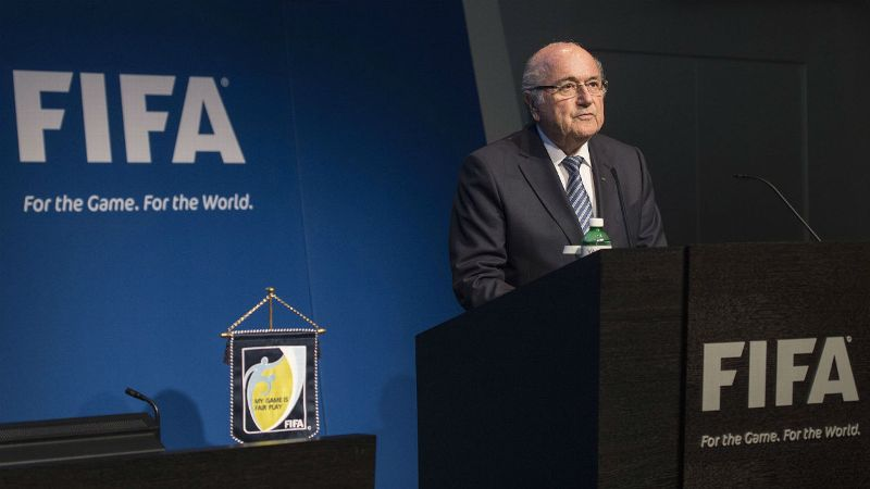Sepp Blatter gives a speech