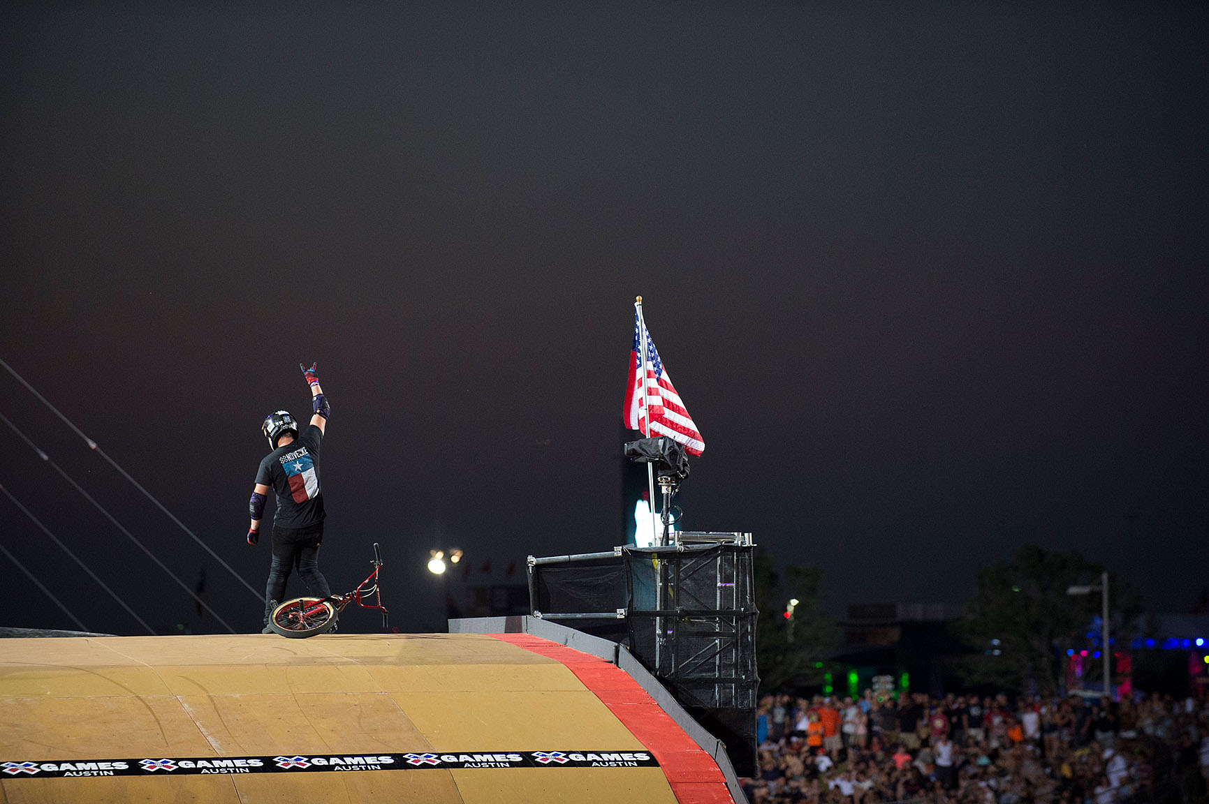 Tyler, Texas, native and veteran BMX Big Air competitor Morgan Wade arrived at X Games Austin as a gold-medal contender, and he remained in that position for much of the competition. Wade's huge superman backflips and double tailwhips at height wowed the crowd, but not more than his antics on top of the MegaRamp following his runs. Wade danced, frolicked and even waved the flag like a hybrid version of a pro wrestler/cowboy.