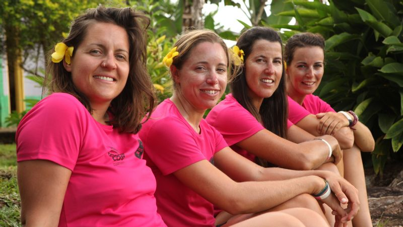 From left, Meg Dyos, Emma Mitchell, Natalia Cohen and Laura Penhaul. The women started their three-leg journey in April in San Francisco, California, and rowed 3,028 miles to Hawaii. Then they rowed 2,608 miles to Samoa. They are now on their final strait of 2,810 miles to Cairns, Australia.