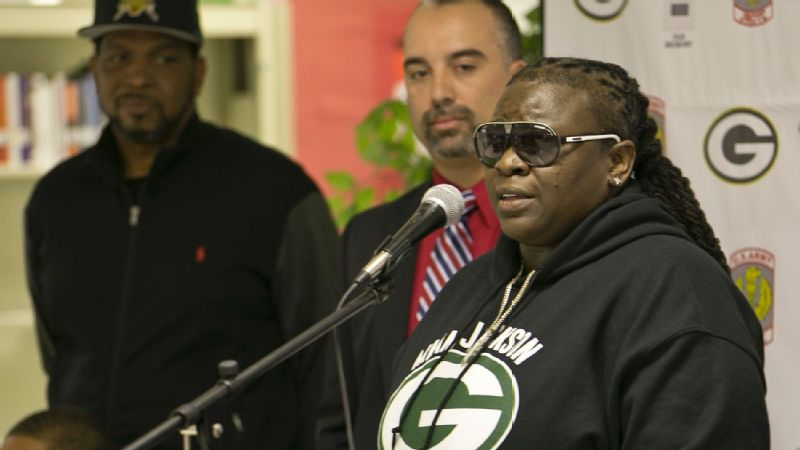 New Miami Jackson High football coach Lakatriona Brunson addresses the media during Monday's news conference.