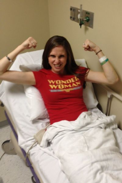 Emily received inspirational T-shirts from friends and family and wore them during her chemo treatments for extra strength.