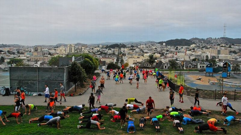 An early morning November Project workout in San Francisco. Founded five years ago, the November Project is a free, grassroots exercise movement. The group leaders released their first book this week.