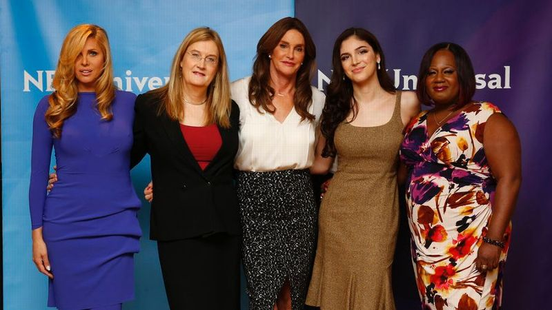 From left, I Am Cait stars Candis Cayne, Jennifer Finney Boylan, Caitlyn Jenner, Ella Giselle and Chandi Moore on a press tour for the show.