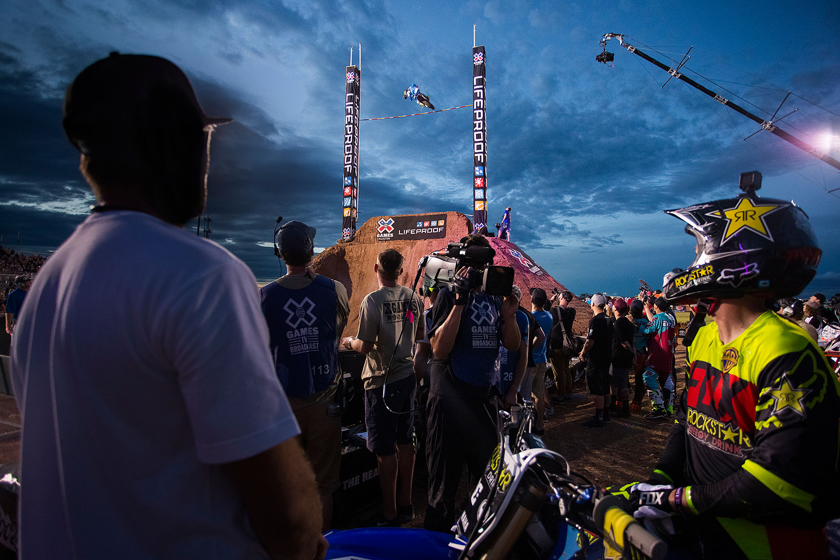 Seven-time Step Up gold medalist Ronnie Renner was favored to win the first event of X Games Austin 2016, but he stopped at the 30-foot-mark and ended the night tied with Bryce Hudson for fourth place. Meanwhile, Jarryd McNeil, pictured jumping, and Libor Podmol, sitting far right, tied for gold with 33-foot jumps, and Massimo Bianconcini came in at 32 feet to clinch the bronze.