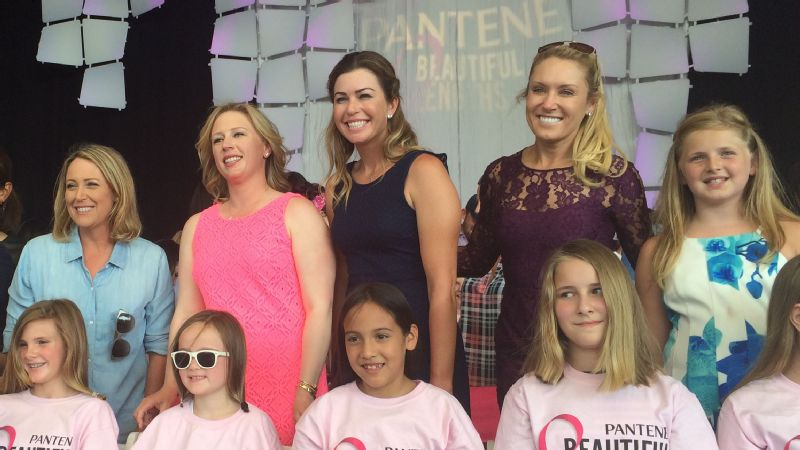 Standing, from left to right, Cristie Kerr, Morgan Pressel, Paula Creamer and Natalie Gulbis participate in the Pantene Beautiful Lengths event at the NW Arkansas Championship.