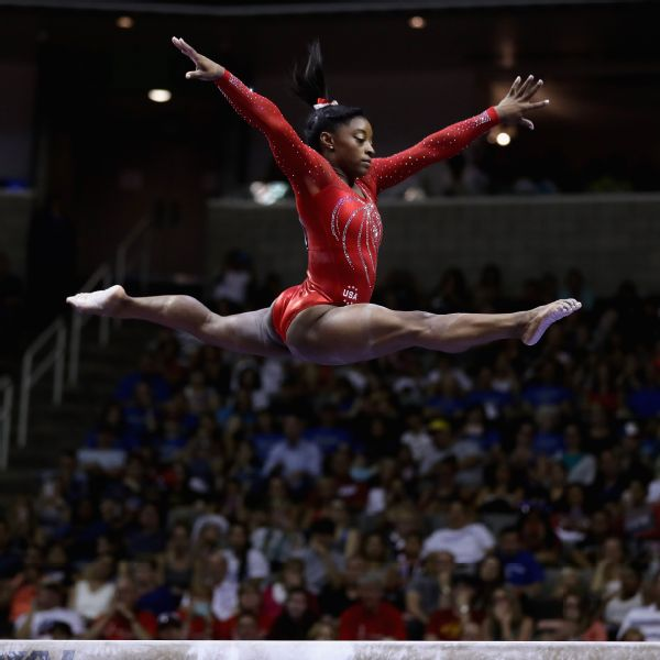 Simone Biles, the three-time defending all-around world champion, is headed to her first Olympics after winning the U.S. trials.