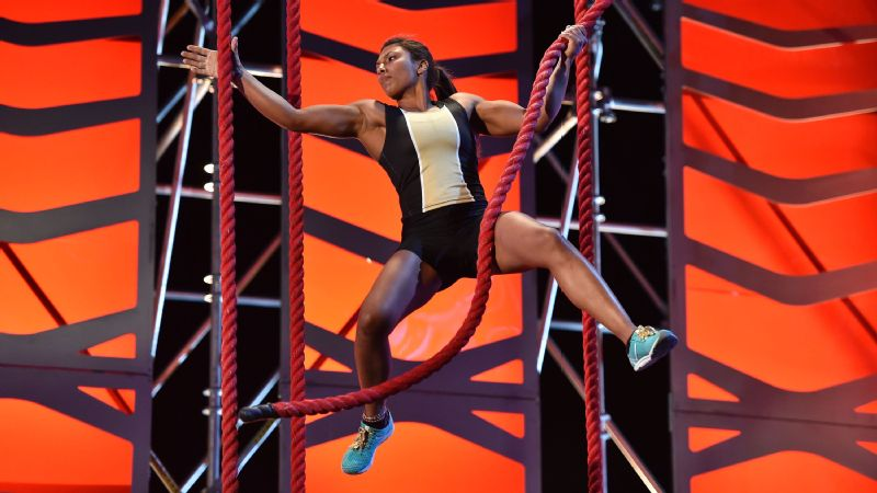 Meagan Martin competes on the Rope Jungle in American Ninja Warrior All-Stars.