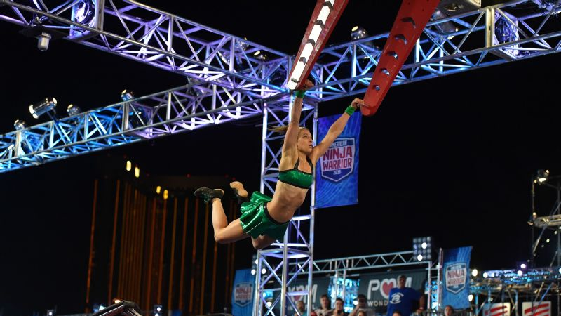 Jessie Graff completed Stage 1 of the American Ninja Warrior national finals in Las Vegas, a first for a woman.