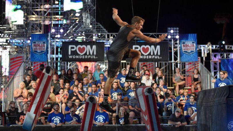 Grant McCartney takes on the Broken Bridge in American Ninja Warrior national finals.