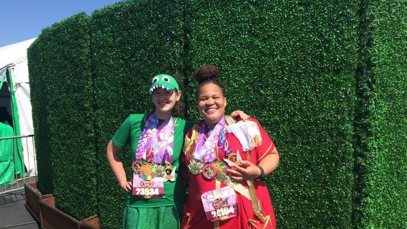 Latria Graham (right), dressed as Captain Hook, with her running partner Jillian after the Tinker Bell Half Marathon and the Pixie Dust Challenge on May 2015.