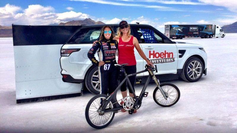 Shea Holbrook, left, and Denise Mueller (Bonneville Salt Flats, Utah)