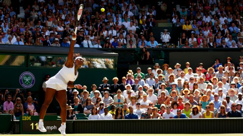 Serena Williams serves during the 2015 Wimbledon final, which she goes on to win.