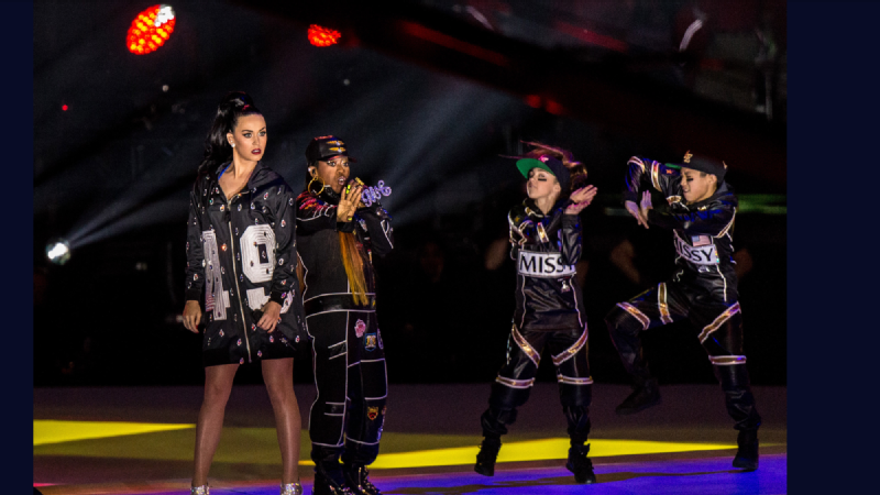 Kaycee Rice, second from right, performed at the Super Bowl XLIX halftime show alongside Katy Perry and Missy Elliott.