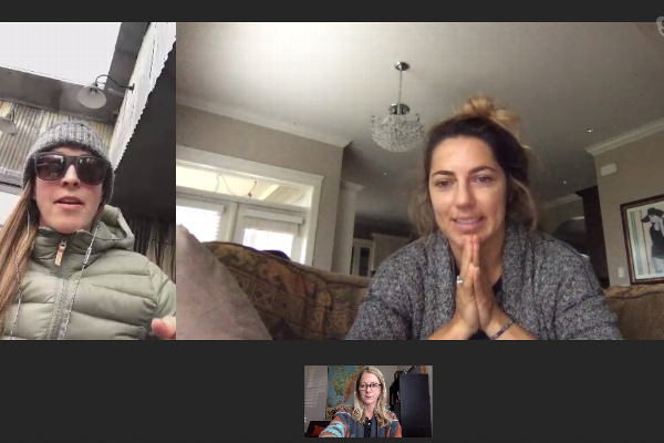Kimmy Fasani (left) and Leanne Pelosi talk to espnW's Alyssa Roenigk (bottom) about their new snowboarding films.