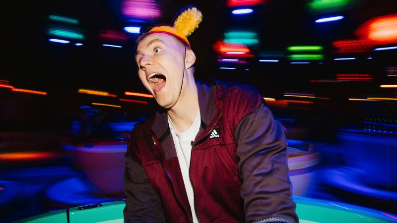 Porzingis takes in the thrills of the Mad Tea Party ride at Disneyland.