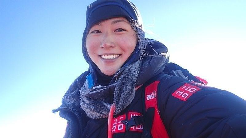 Marin Minamiya took this selfie when she summited at Mount Everest.